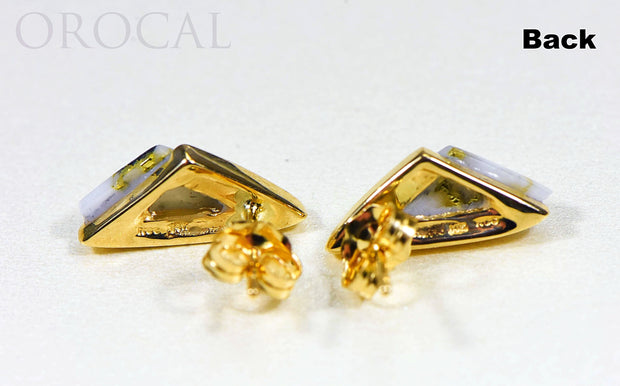 "Gold Quartz Earrings ""Orocal"" EDL25SQ Genuine Hand Crafted Jewelry - 14K Gold Casting"
