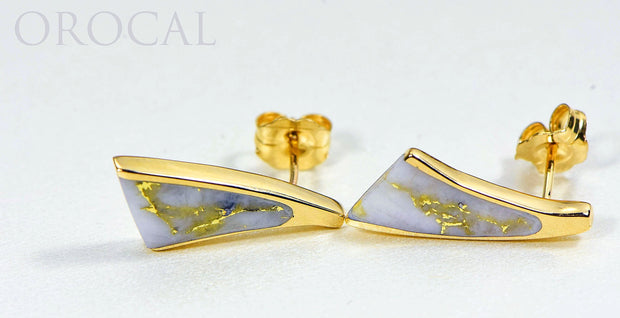 "Gold Quartz Earrings ""Orocal"" EDL8SQ Genuine Hand Crafted Jewelry - 14K Gold Casting"