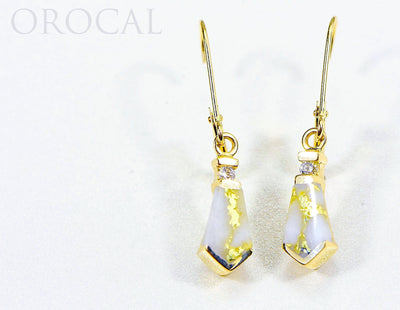 "Gold Quartz Earrings ""Orocal"" EN641D8Q/LB Genuine Hand Crafted Jewelry - 14K Gold Casting"