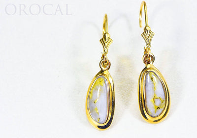 "Gold Quartz Earrings ""Orocal"" EN762Q/LB Genuine Hand Crafted Jewelry - 14K Gold Casting"