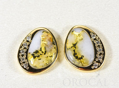 "Gold Quartz Earrings ""Orocal"" ESC106DQ Genuine Hand Crafted Jewelry - 14K Gold Casting"
