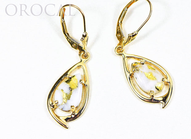 "Gold Quartz Earrings ""Orocal"" EN774Q/LB Genuine Hand Crafted Jewelry - 14K Gold Casting"