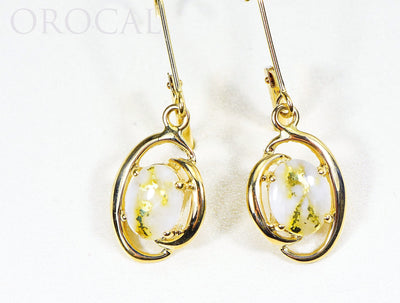 "Gold Quartz Earrings ""Orocal"" EN805Q/LB Genuine Hand Crafted Jewelry - 14K Gold Casting"