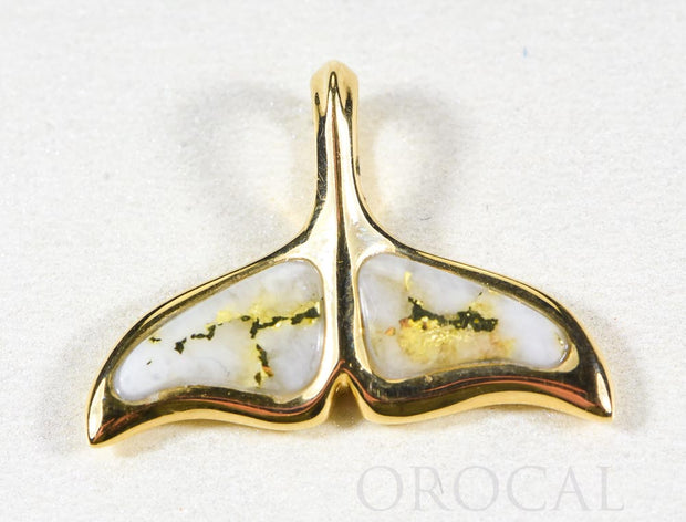 "Gold Quartz Pendant Whales Tail ""Orocal"" PAJWT301QX Genuine Hand Crafted Jewelry - 14K Gold Yellow Gold Casting"