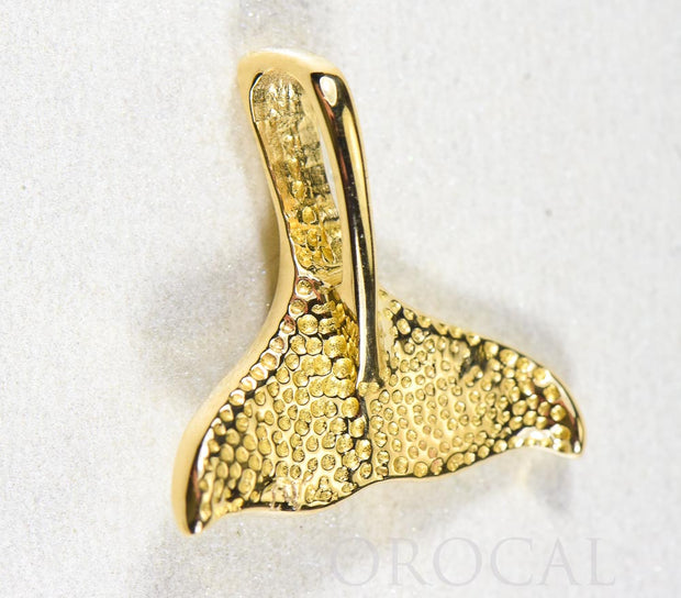 "Gold Quartz Pendant Whales Tail ""Orocal"" PDLWT113NQ Genuine Hand Crafted Jewelry - 14K Gold Yellow Gold Casting"