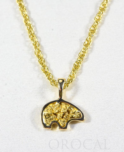 "Gold Nugget Pendant Bear ""Orocal"" PBR1SOLX Genuine Hand Crafted Jewelry - 14K Gold Yellow Gold Casting"
