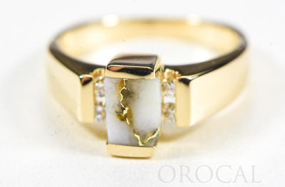 "Gold Quartz Ring ""Orocal"" RLDL50D12Q Genuine Hand Crafted Jewelry - 14K Gold Casting"