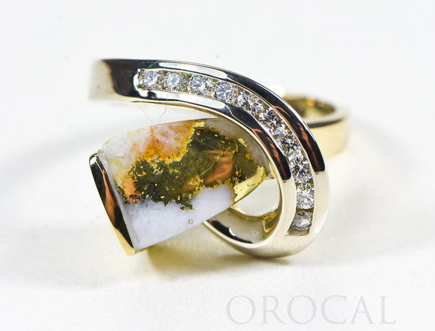 "Gold Quartz Ring ""Orocal"" RLDL34D30Q Genuine Hand Crafted Jewelry - 14K Gold Casting"