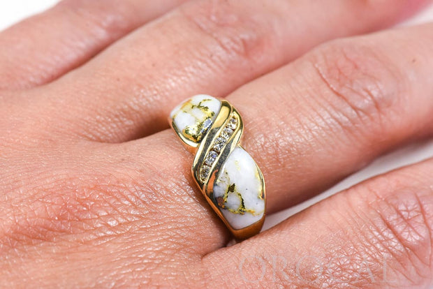 "Gold Quartz Ring ""Orocal"" RL782D15Q Genuine Hand Crafted Jewelry - 14K Gold Casting"