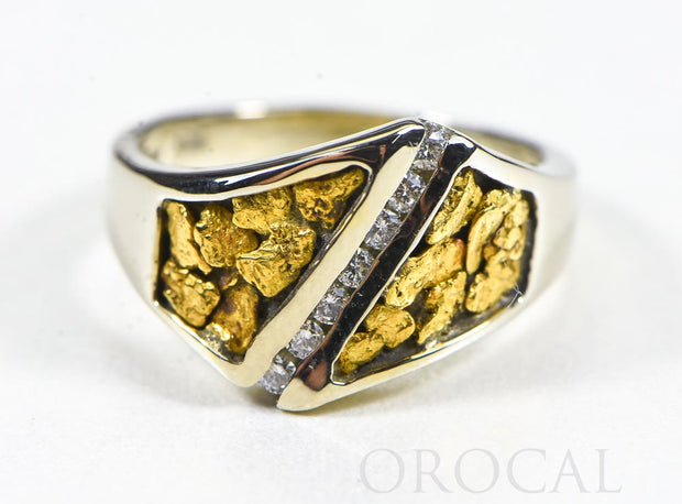 "Gold Nugget Ladies Ring ""Orocal"" RL1067DNW Genuine Hand Crafted Jewelry - 14K White Gold Casting"