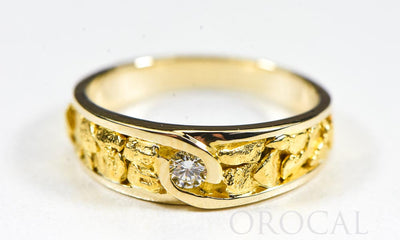 "Gold Nugget Ladies Ring ""Orocal"" RL613D10 Genuine Hand Crafted Jewelry - 14K Yellow Gold Casting"