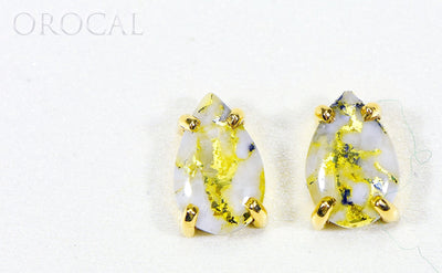 "Gold Quartz Earrings ""Orocal"" E10*7Q Genuine Hand Crafted Jewelry - 14K Gold Casting"