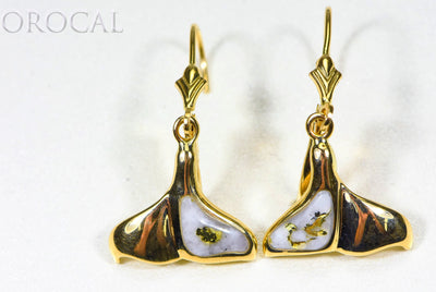 "Gold Quartz Earrings ""Orocal"" EDLWT12Q/LB Genuine Hand Crafted Jewelry - 14K Gold Casting"
