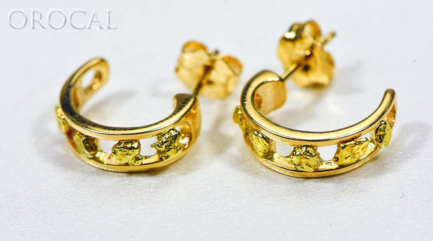 "Gold Nugget Earrings ""Orocal"" EH18 Genuine Hand Crafted Jewelry - 14K Gold Casting"