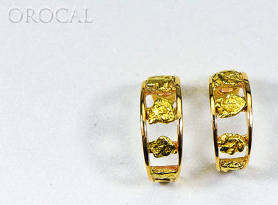 "Gold Nugget Earrings ""Orocal"" EH41NQ Genuine Hand Crafted Jewelry - 14K Gold Casting"