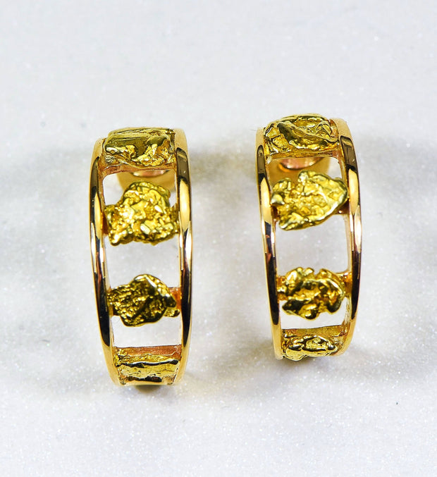 "Gold Nugget Earrings ""Orocal"" EH20 Genuine Hand Crafted Jewelry - 14K Gold Casting"