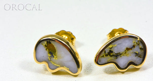 "Gold Quartz Earrings ""Orocal"" EBR1MHQ Genuine Hand Crafted Jewelry - 14K Gold Casting"