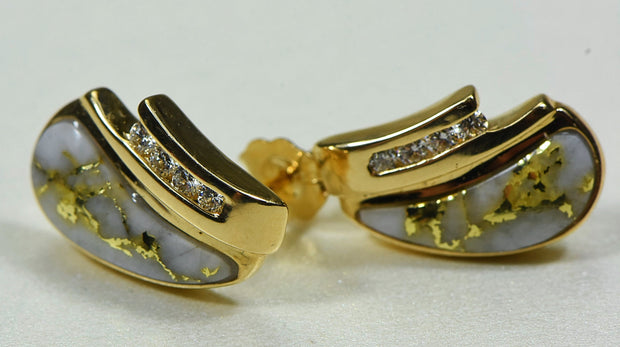 "Gold Quartz Earrings ""Orocal"" EDL47D16Q Genuine Hand Crafted Jewelry - 14K Gold Casting"