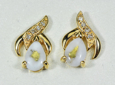 "Gold Quartz Earrings ""Orocal"" EN792SDQ Genuine Hand Crafted Jewelry - 14K Gold Casting"