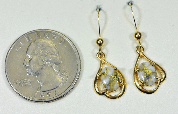 "Gold Quartz Earrings ""Orocal"" EN870SMQ/LB Genuine Hand Crafted Jewelry - 14K Gold Casting"