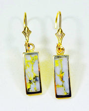 "Gold Quartz Earrings ""Orocal"" EB5.5MMQ/LB Genuine Hand Crafted Jewelry - 14K Gold Casting"