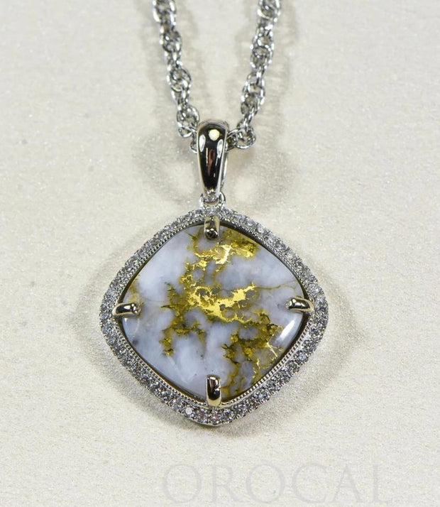 "Gold Quartz Pendant ""Orocal"" PN1169DQ Genuine Hand Crafted Jewelry - 14K Gold Yellow Gold Casting"