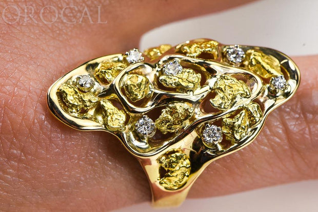 "Gold Nugget Ladies Ring ""Orocal"" RL382D33 Genuine Hand Crafted Jewelry - 14K Casting"