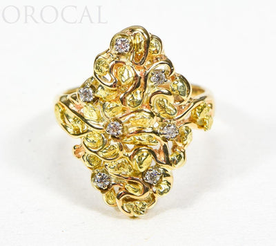 "Gold Nugget Ladies Ring ""Orocal"" RL239D14 Genuine Hand Crafted Jewelry - 14K Casting"