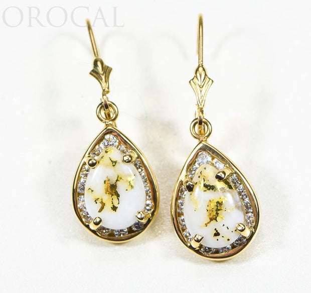 "Gold Quartz Earrings ""Orocal"" EN630D60Q/LB Genuine Hand Crafted Jewelry - 14K Gold Casting"