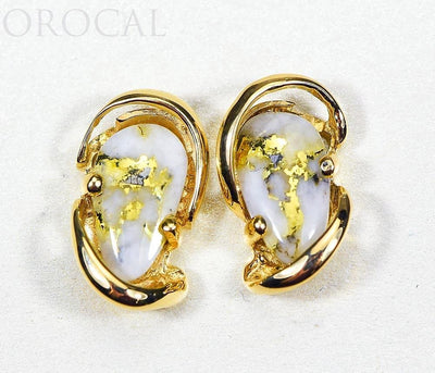 "Gold Quartz Earrings ""Orocal"" EN784SQ Genuine Hand Crafted Jewelry - 14K Gold Casting"