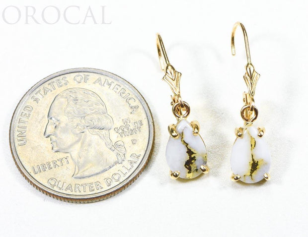 "Gold Quartz Earrings ""Orocal"" E10*7Q/LB Genuine Hand Crafted Jewelry - 14K Gold Casting"
