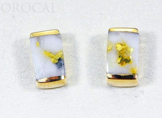 "Gold Quartz Earrings ""Orocal"" EJ37Q Genuine Hand Crafted Jewelry - 14K Gold Casting"
