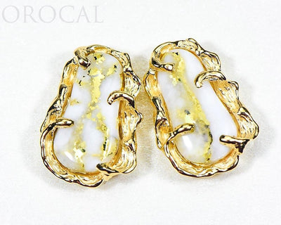 "Gold Quartz Earrings ""Orocal"" EFFQ5 Genuine Hand Crafted Jewelry - 14K Gold Casting"