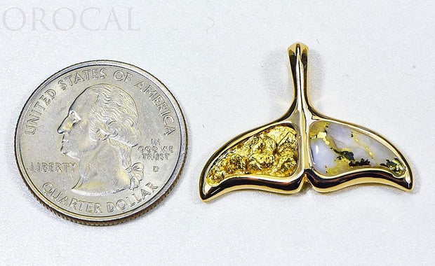 "Gold Quartz Pendant Whales Tail ""Orocal"" PAJWT302NQ Genuine Hand Crafted Jewelry - 14K Gold Casting"