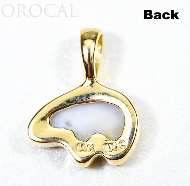 "Gold Quartz Pendant Bear ""Orocal"" PBR1SHQX Genuine Hand Crafted Jewelry - 14K Gold Casting"