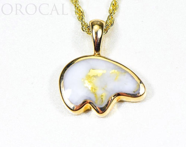 "Gold Quartz Pendant Bear ""Orocal"" PBR1MHQX Genuine Hand Crafted Jewelry - 14K Gold Casting"