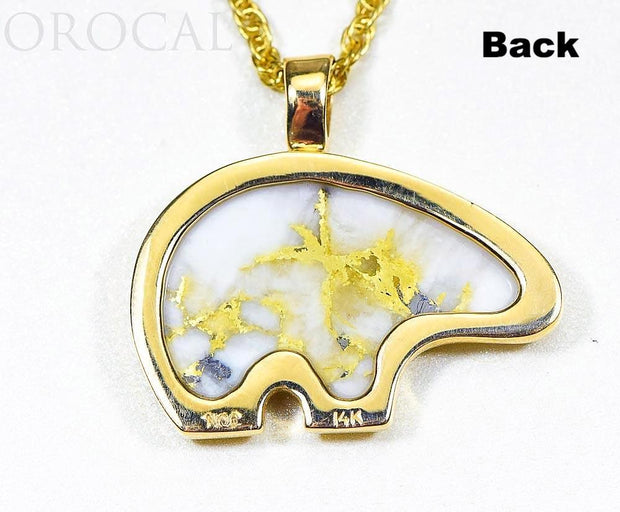 "Gold Quartz Pendant Bear ""Orocal"" PBR1JHQX Genuine Hand Crafted Jewelry - 14K Gold Casting"