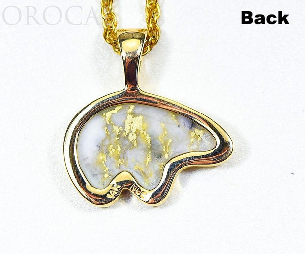 "Gold Quartz Pendant Bear ""Orocal"" PBR1XLHQX Genuine Hand Crafted Jewelry - 14K Gold Casting"