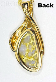 "Gold Quartz Pendant ""Orocal"" PN827QX Genuine Hand Crafted Jewelry - 14K Gold Yellow Gold Casting"