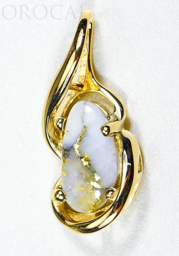 "Gold Quartz Pendant ""Orocal"" PN784SQX Genuine Hand Crafted Jewelry - 14K Gold Yellow Gold Casting"