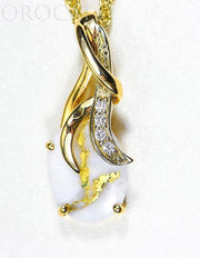 "Gold Quartz Pendant ""Orocal"" PN820DQX Genuine Hand Crafted Jewelry - 14K Gold Yellow Gold Casting"