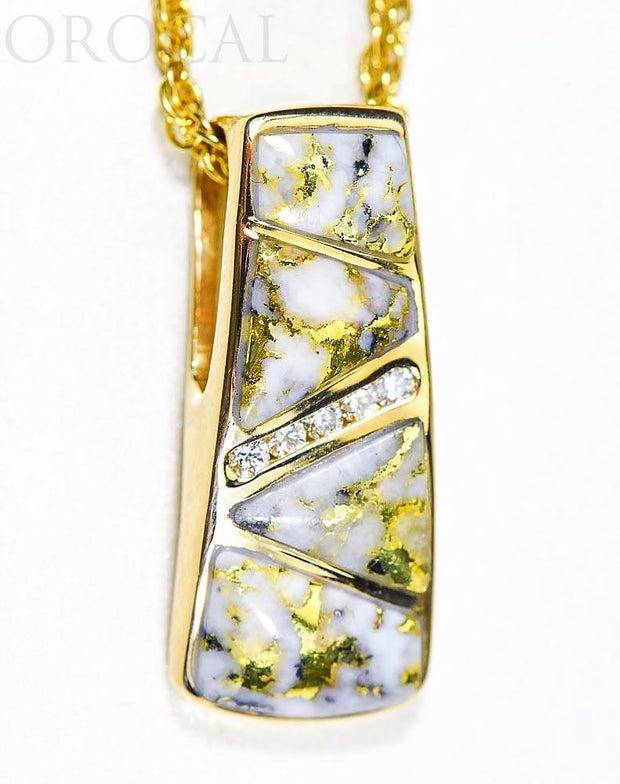 "Gold Quartz Pendant ""Orocal"" PN798DQX Genuine Hand Crafted Jewelry - 14K Gold Yellow Gold Casting"