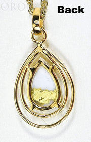 "Gold Quartz Pendant ""Orocal"" PN1076SQ Genuine Hand Crafted Jewelry - 14K Gold Yellow Gold Casting"