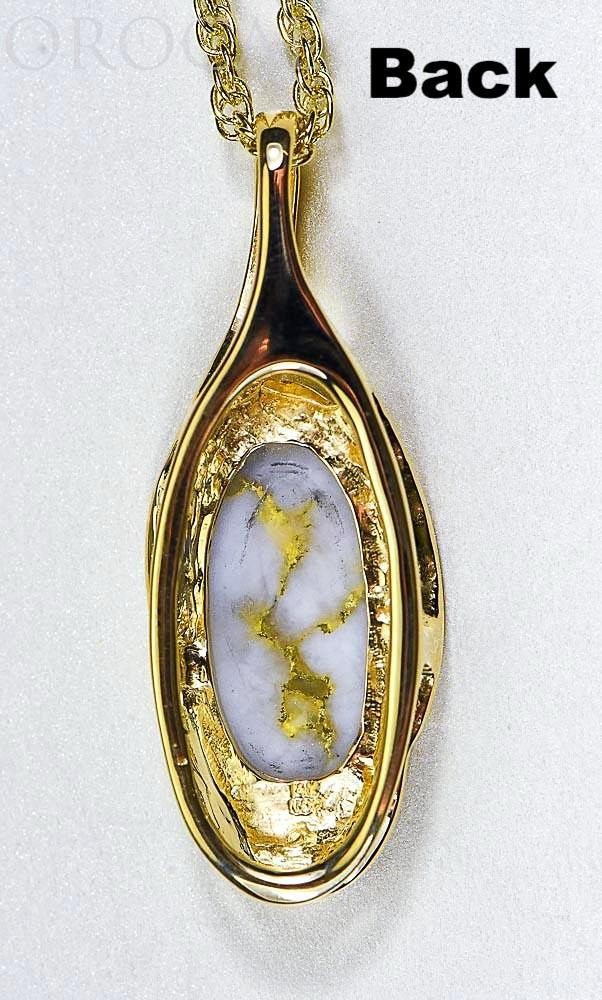 "Gold Quartz Pendant ""Orocal"" PN790QX Genuine Hand Crafted Jewelry - 14K Gold Yellow Gold Casting"