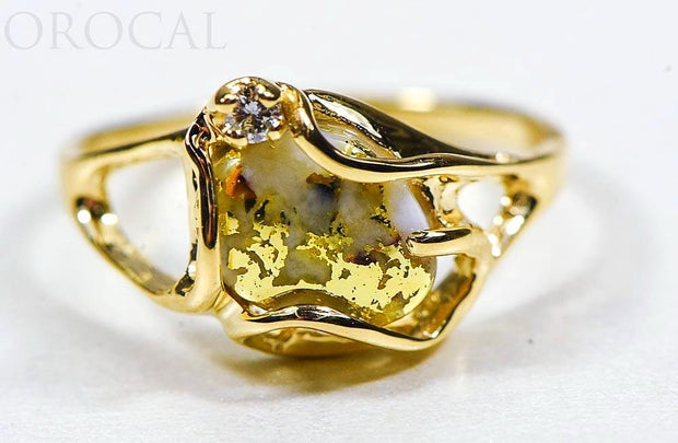 "Gold Quartz Ladies Ring ""Orocal"" RL1079DQ Genuine Hand Crafted Jewelry - 14K Gold Casting"