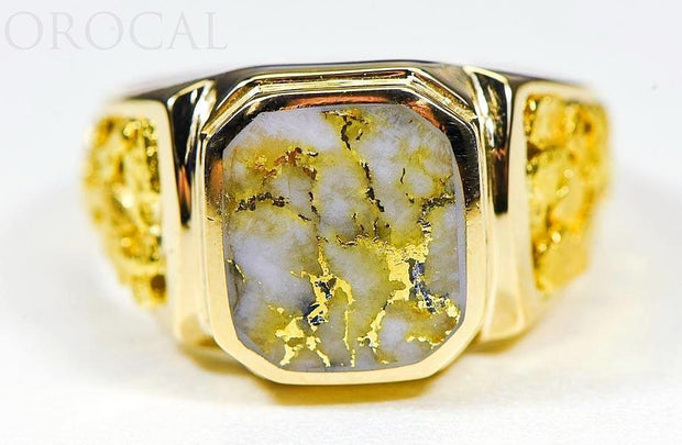 "Gold Quartz Mens Ring ""Orocal"" RM962Q Genuine Hand Crafted Jewelry - 14K Gold Casting"