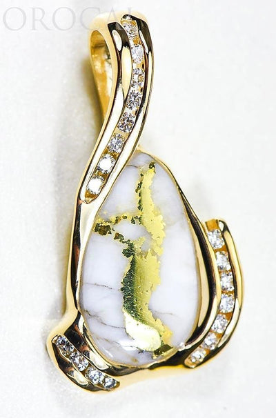 "Gold Quartz Pendant ""Orocal"" PDL106D38QX Genuine Hand Crafted Jewelry - 14K Gold Yellow Gold Casting"