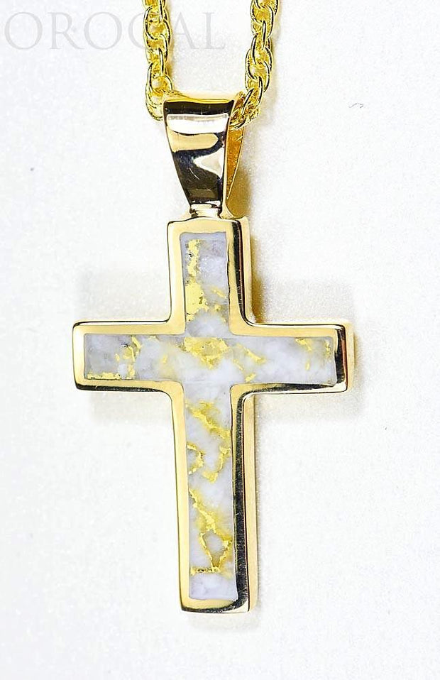 "Gold Quartz Pendant ""Orocal"" PCR21QX Genuine Hand Crafted Jewelry - 14K Gold Yellow Gold Casting"