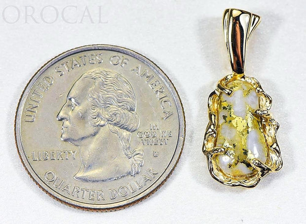 "Gold Quartz Pendant ""Orocal"" PFFQ5X Genuine Hand Crafted Jewelry - 14K Gold Yellow Gold Casting"
