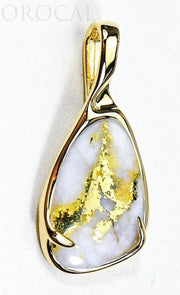 "Gold Quartz Pendant ""Orocal"" PSC101QX Genuine Hand Crafted Jewelry - 14K Gold Yellow Gold Casting"